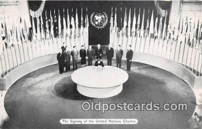 pol200086 - Signing of the United Nations Charter New York Political Postcard Post Card