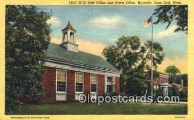 pst001034 - Cape Cod, Mass USA,  Post Office Postcard, Postoffice Post Card Old Vintage Antique