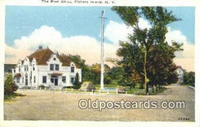 pst001064 - Fisher Island, NY USA,  Post Office Postcard, Postoffice Post Card Old Vintage Antique