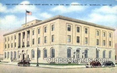 pst001075 - Waterloo, Iowa USA,  Post Office Postcard, Postoffice Post Card Old Vintage Antique