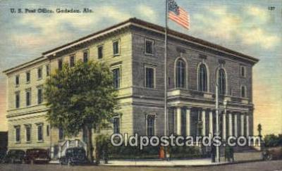 pst001079 - Gadsden, Ala USA,  Post Office Postcard, Postoffice Post Card Old Vintage Antique