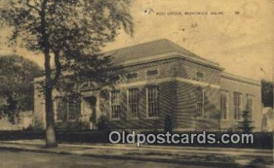 pst001085 - Brunswick, Maine USA,  Post Office Postcard, Postoffice Post Card Old Vintage Antique