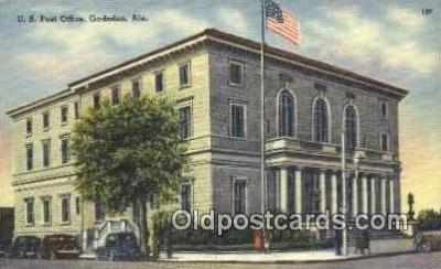 pst001096 - Gadsden, Ala USA,  Post Office Postcard, Postoffice Post Card Old Vintage Antique