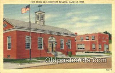 pst001148 - Wareham, Mass USA,  Post Office Postcard, Postoffice Post Card Old Vintage Antique