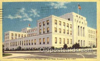 pst001237 - Greensboro, NC USA,  Post Office Postcard, Postoffice Post Card Old Vintage Antique