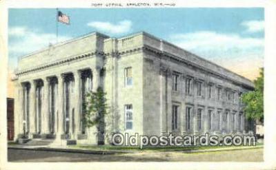 pst001270 - Appleton, Wis USA,  Post Office Postcard, Postoffice Post Card Old Vintage Antique