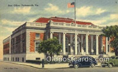 pst001293 - Portsmouth, VA USA,  Post Office Postcard, Postoffice Post Card Old Vintage Antique