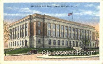 pst001326 - Roanoke, VA USA,  Post Office Postcard, Postoffice Post Card Old Vintage Antique