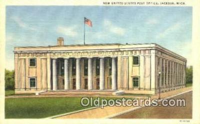 pst001343 - Jackson, MI USA,  Post Office Postcard, Postoffice Post Card Old Vintage Antique