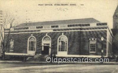 pst001357 - Middleboro, Mass USA,  Post Office Postcard, Postoffice Post Card Old Vintage Antique