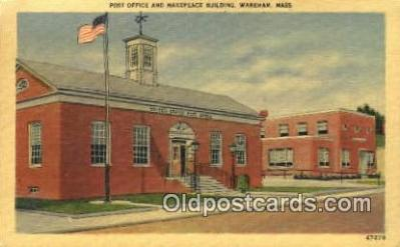 pst001385 - Wareham, Mass USA,  Post Office Postcard, Postoffice Post Card Old Vintage Antique