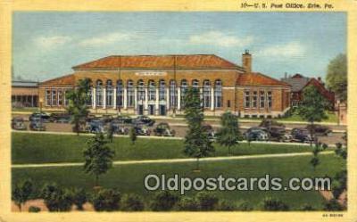 pst001413 - Erie, PA USA,  Post Office Postcard, Postoffice Post Card Old Vintage Antique