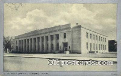 pst001485 - US Post Office Lansing Michigan USA Postoffice Old Vintage Post Card Postcards