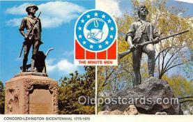 pat100049 - Concord Lexington, The Minuteman Bicentennial 1775-1975, Concord, Mass Postcard Post Card