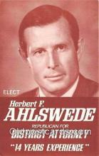 pat100318 - Herbert F Ahlswede Republican, District Attorney Postcard Post Card
