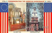 pat100476 - Commemorating the American Bicentennial Independence Hall Patriotic Postcard Post Card