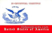 pat100482 - Bicentennial Greetings 1776-1976  Patriotic Postcard Post Card