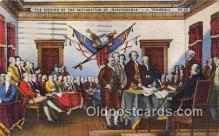 pat100532 - Signing of the Declaration of Independence, July 4, 1776 J Trumbull Patriotic Postcard Post Card