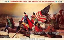 pat100538 - American Bicentennial 1776-1976 Washington Crossing the Delaware Patriotic Postcard Post Card