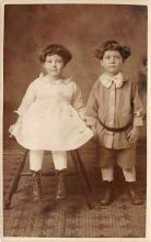 pht100512 - People and Children Photographed on Postcard, Old Vintage Antique Post Card