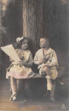 pht200040 - People and Children Photographed on Postcard, Old Vintage Antique Post Card
