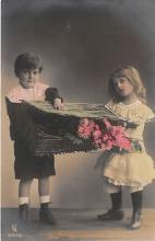 pht200383 - People and Children Photographed on Postcard, Old Vintage Antique Post Card