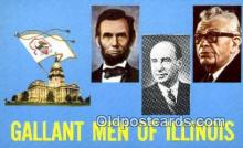 pol016001 - Gallant Men Of Illinois, USA, Political Postcard Postcards