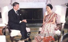 pol040023 - India's Prime Minister Ronald Regan 40th USA President Postcard Postcards