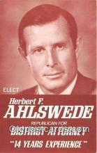 pol200060 - Herbert F Ahlswede Republican for District Attorney Political Postcard Post Card