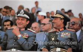 pol200074 - Egyptian President Anwar Sadat, Vice President Hosni Mubarak  Political Postcard Post Card