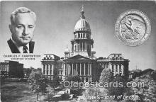 pol200148 - Charles F Carpentier, Secretary of State Illinois, Land of Lincoln Political Postcard Post Card