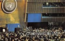 pol200169 - Black Marble Podium United Nations, New York USA Political Postcard Post Card