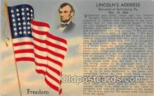 pol200175 - Freedom, Nov 19, 1863 Lincoln Address, Gettysburg PA Political Postcard Post Card