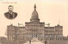 pol200182 - Capitol Building, President Teddy Roosevelt Lansing, Mich, USA Political Postcard Post Card
