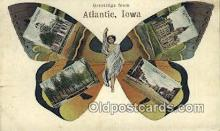 pop100020 - Greetings from Atlantic, Iowa, USA Old Vintage Antique Postcard Post Card