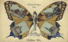 pop100025 - Greetings from Glidden, Wisconsin, USA Old Vintage Antique Postcard Post Card