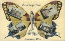 pop100027 - Greetings from Juneau, Wisconsin Old Vintage Antique Postcard Post Card