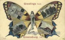 pop100031 - Greetings from Greensburg, Indiana, USA Old Vintage Antique Postcard Post Card