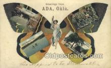 pop100035 - Greetings from Ada Oklahoma, USA Old Vintage Antique Postcard Post Card