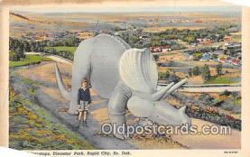 pre000035 - Triceratops, Dinosaur Park Rapid City, South Dakota, USA Postcards Post Cards Old Vintage Antique