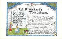 pro001001 - The Drunkard's Tombstone Prohibition Postcard Postcards