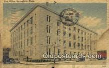pst001144 - Springfield, Mass USA,  Post Office Postcard, Postoffice Post Card Old Vintage Antique