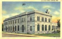 pst001473 - Oshkosh, WI USA,  Post Office Postcard, Postoffice Post Card Old Vintage Antique