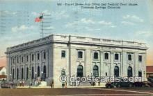 pst001484 - United States Post Office and Federal Court House Colorado Springs Colorado USA Postoffice Old Vintage Post Card Postcards