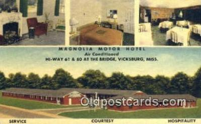 rds001068 - Vicksburg, Mississippi USA Magnolia Motor Hotel Road Side Postcard Post Cards