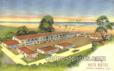 rds001069 - Santa Monica, California USA Surf Auto Hotel Road Side Postcard Post Cards