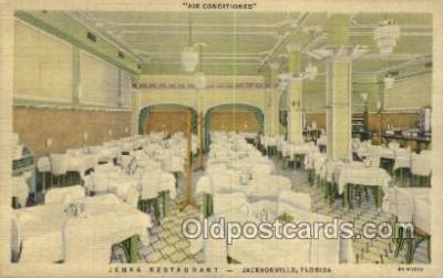 res001427 - Jacksonville Florida USA Linen postcard -  Jenks Restaurant Old Vintage Antique Postcard Post Cards