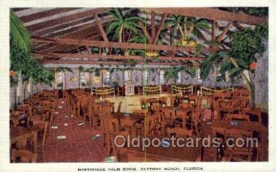 res001438 - Daytona Beach Florida USA Linen postcard Martinque Palm Room Old Vintage Antique Postcard Post Cards