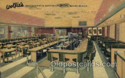res001517 - Miami Beach, FL USA Wolfies Restaurant Old Vintage Antique Postcard Post Cards
