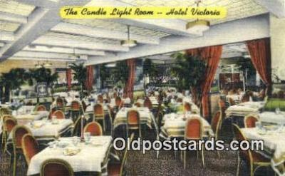 res050361 - Linen, Candle Light Room, Hotel Victoria Restaurant, New York City, NYC Postcard Post Card USA Old Vintage Antique